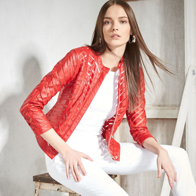 Escada Zip-Front Laser-Cut Leather Jacket