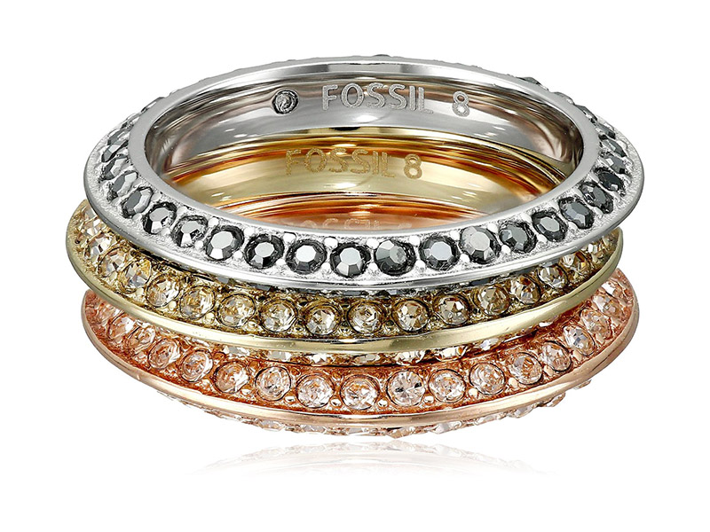 Fossil Tri-Tone Ring Stackable Ring