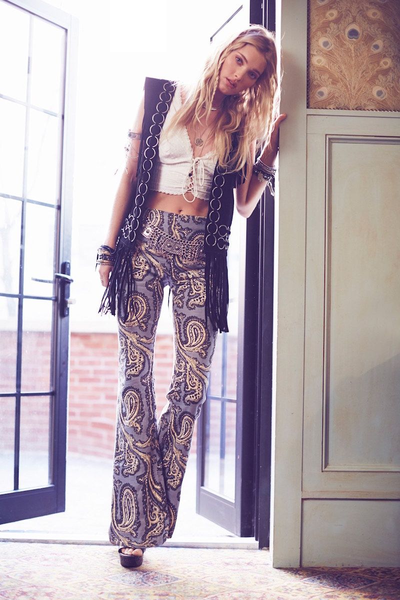 Free People Dark Paradise Print Flare Leg Pants