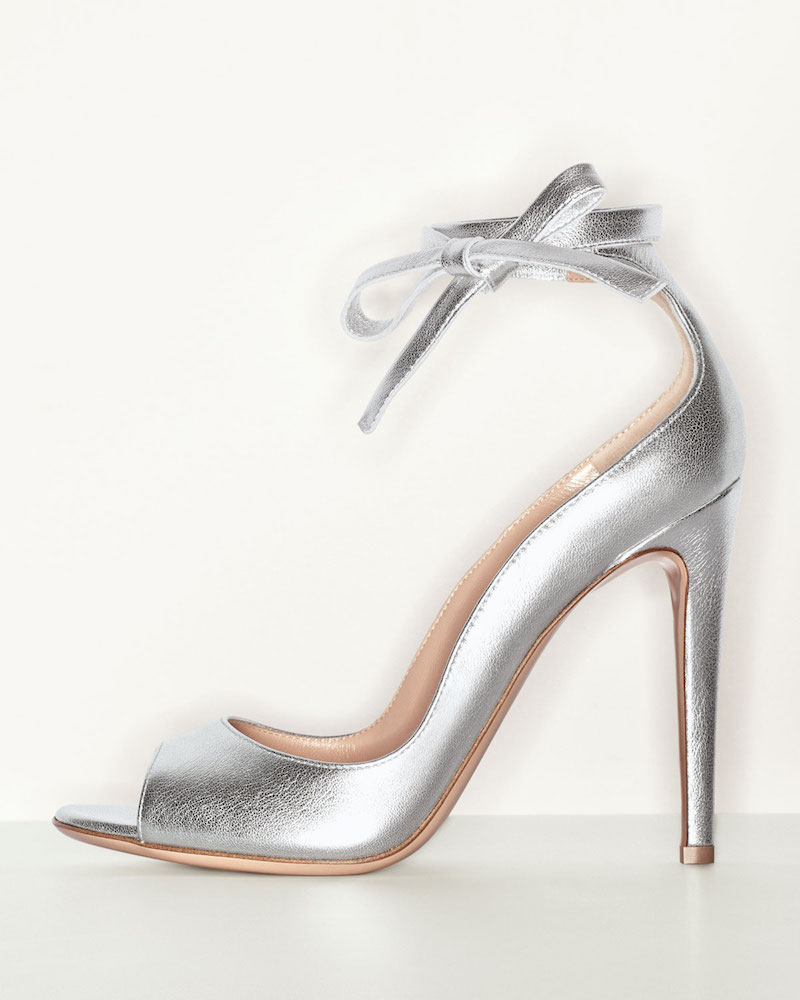 Gianvito Rossi Metallic Leather Ankle-Wrap Pump