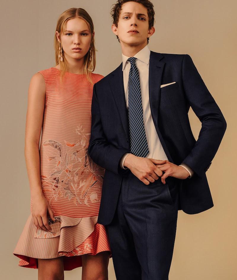 Giorgio Armani Bird-Of-Paradise-Print Silk Peplum Dress