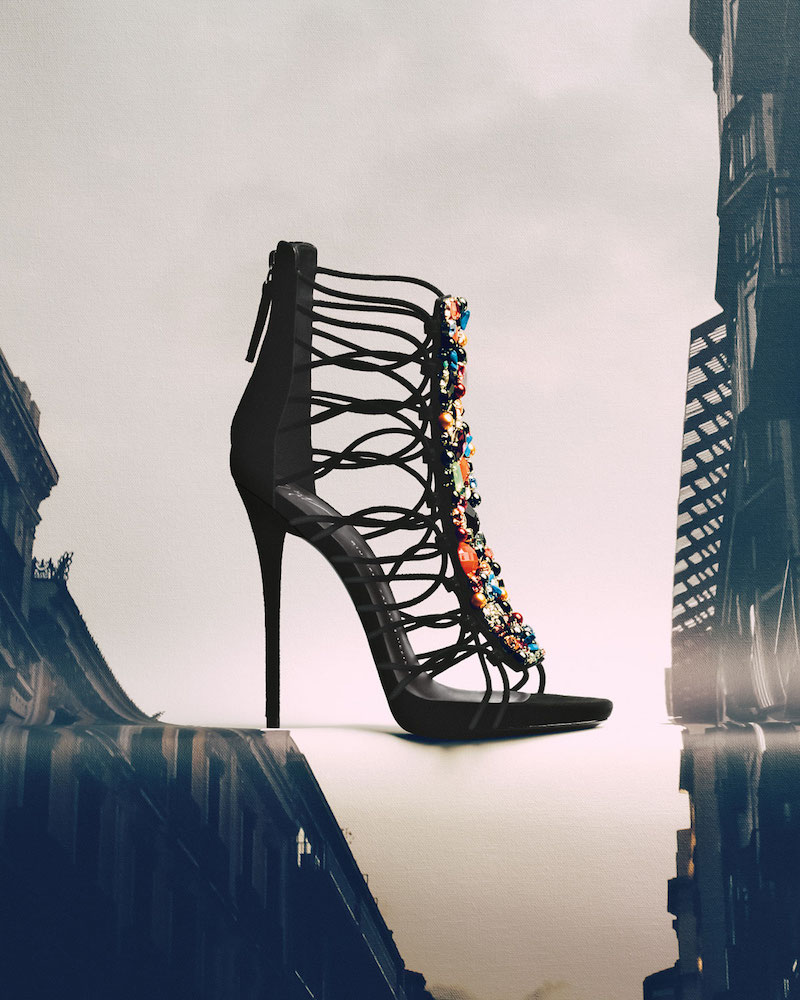 Giuseppe Zanotti Jeweled Suede T-Strap Sandal
