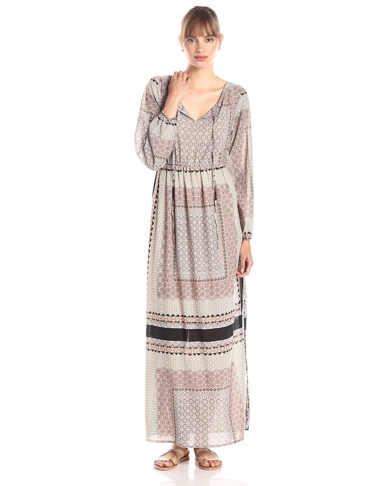 Glamorous Scarf-Print Long-Sleeve Maxi Dress