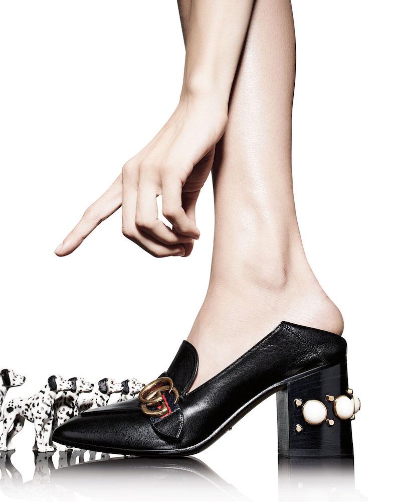 Gucci Peyton Square-Toe Block-Heel Pump