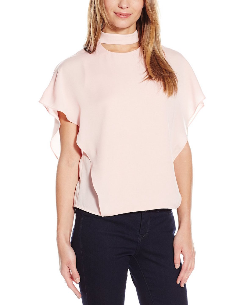 HALSTON HERITAGE Short Flowy Sleeve Mock Neck Top with Cut Outs