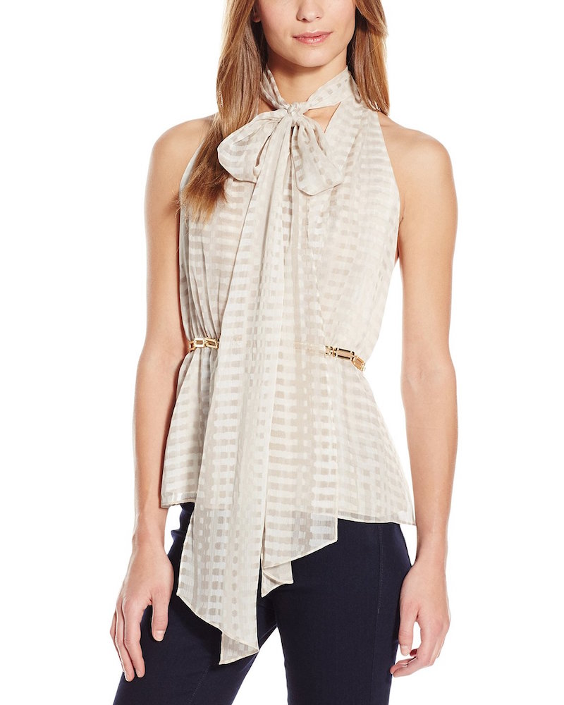 HALSTON HERITAGE Sleeveless Deep V-Neck Top with Scarf and Link Detail