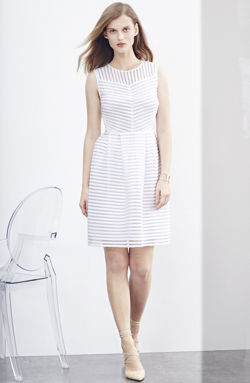 Halogen Eyelet Stripe Fit & Flare Dress