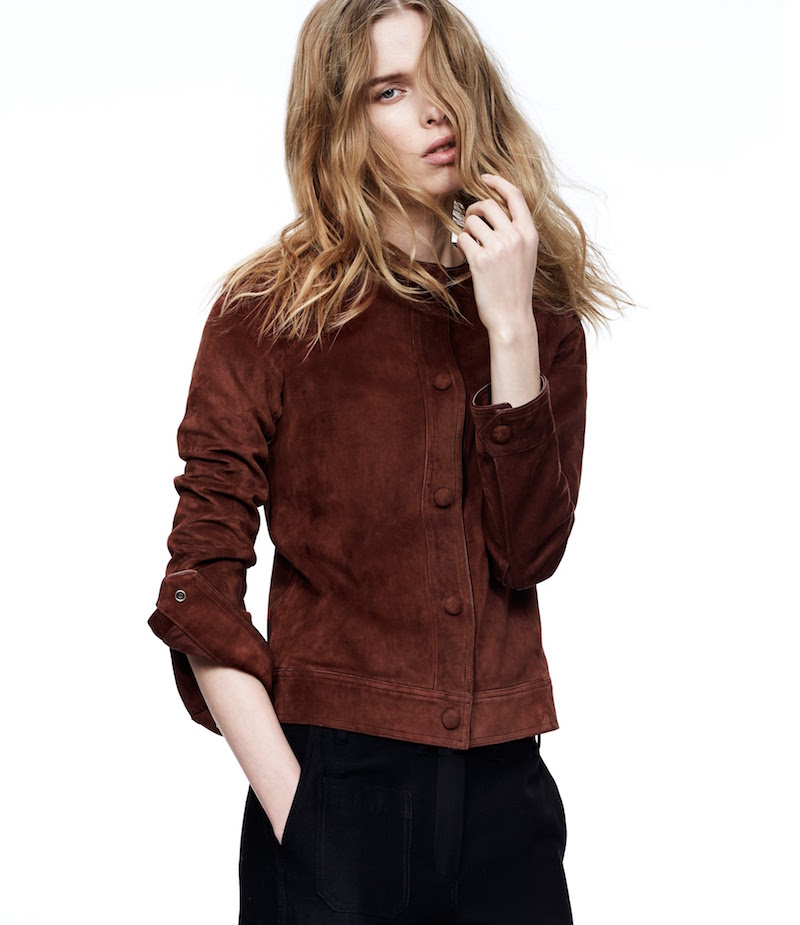 Helmut Lang Suede Collarless Jacket