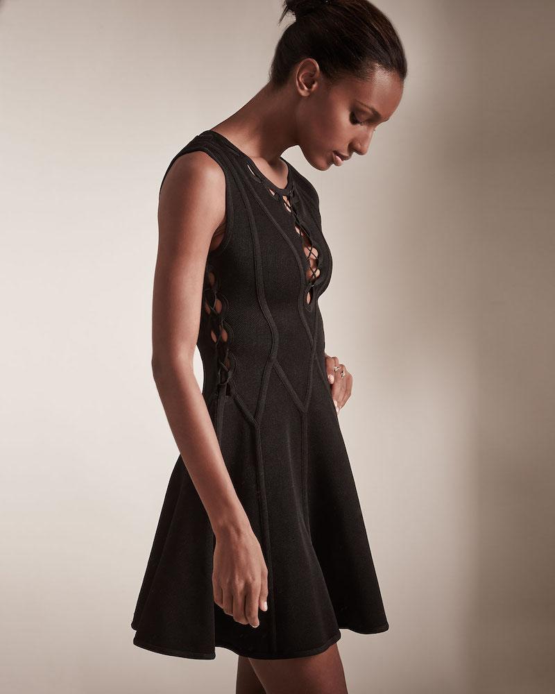 Herve Leger Sleeveless Fit-&-Flare Cutout Dress