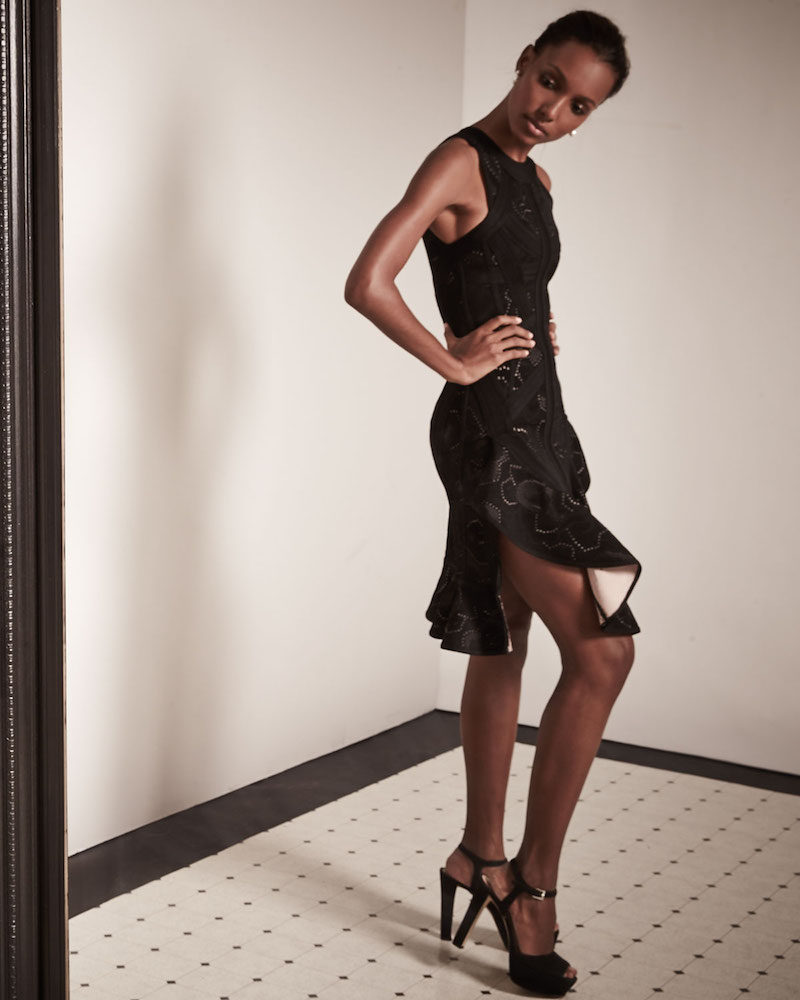 Herve Leger Sleeveless Origami-Hem Dress