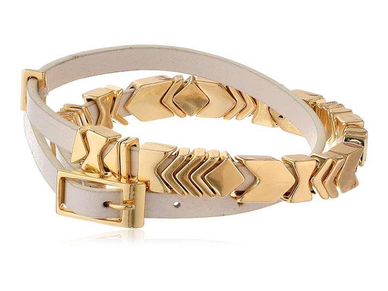 House of Harlow 1960 Gold-Plated and Leather Wrap Bracelet