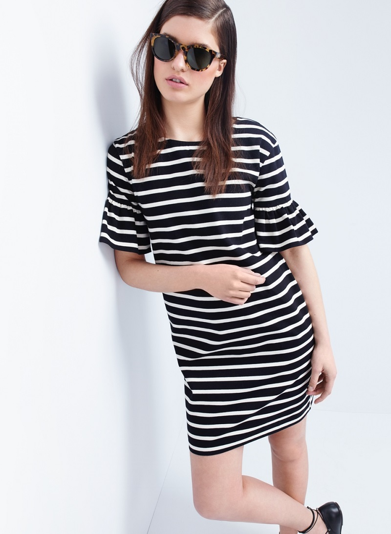 J.Crew Ruffled bell-sleeve shift dress