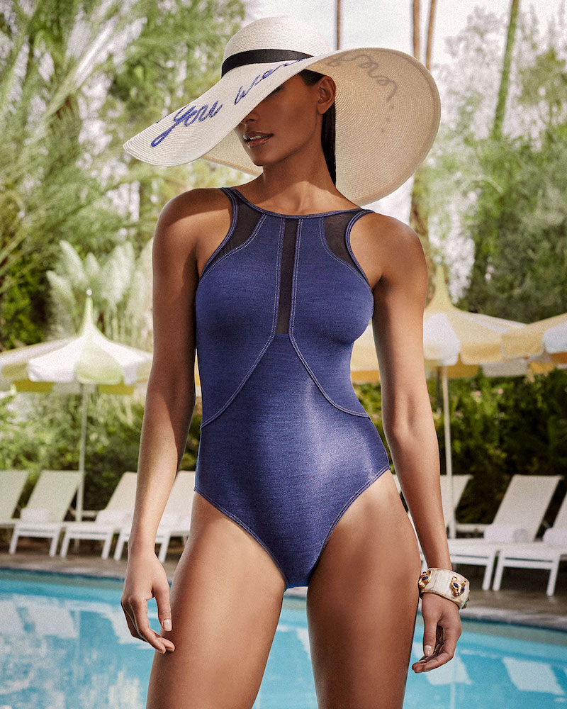 JETS by Jessika Allen Denim High-Neck One-Piece Swimsuit