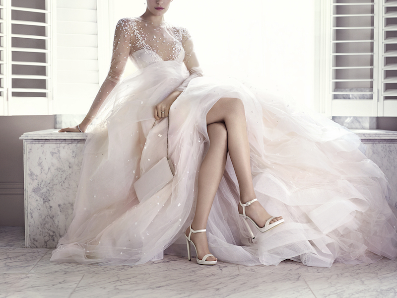 JIMMY CHOO Claudette 120 White Shimmer Leather Sandals with Crystal Detailed Heel