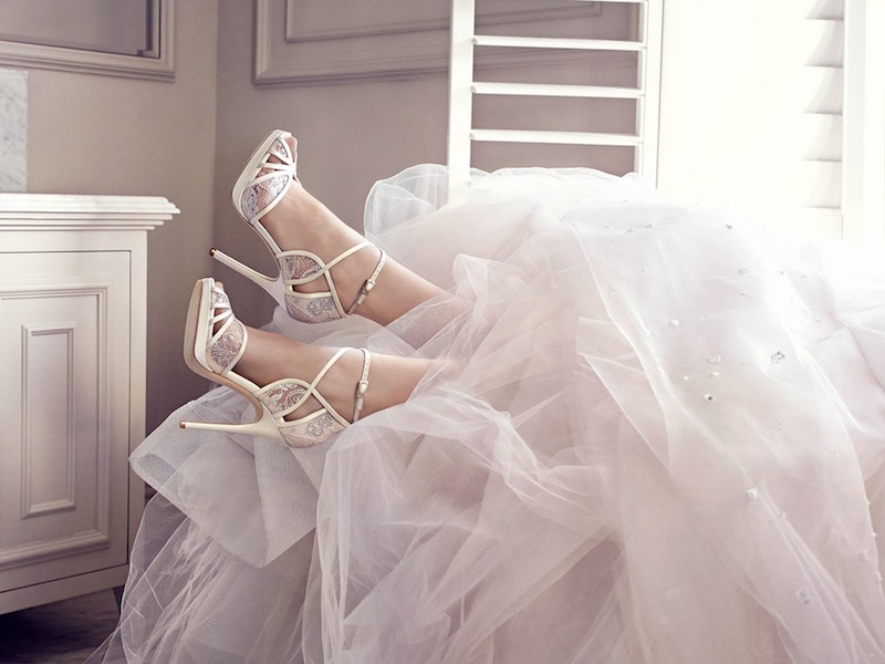 JIMMY CHOO Fayme Ivory and White Satin Sandals