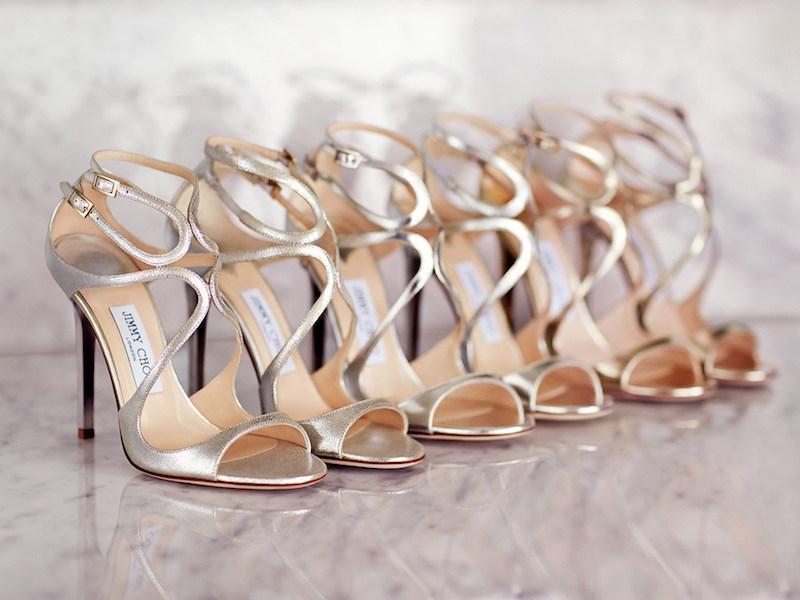 JIMMY CHOO Lance Champagne Glitter Leather Sandals