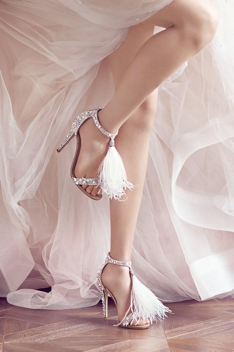 JIMMY CHOO Viola 110 Embellished Suede Feather Tassel Sandals