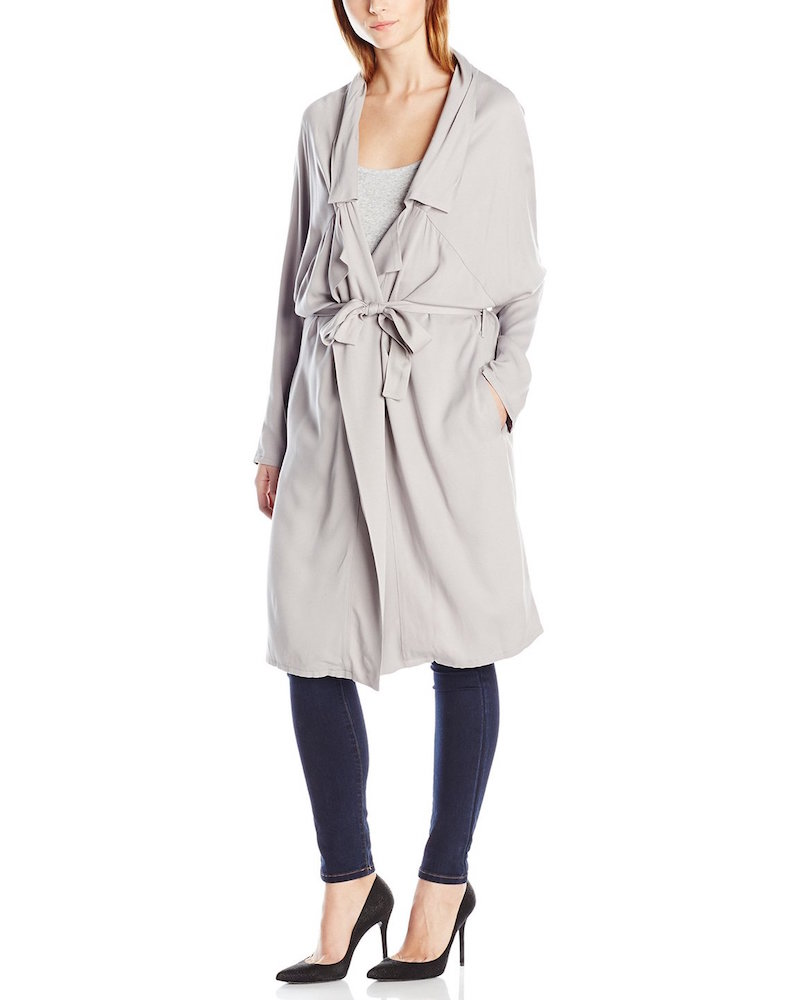 Jack by BB Dakota Martha Draped Rayon Twill Longline Trench Coat