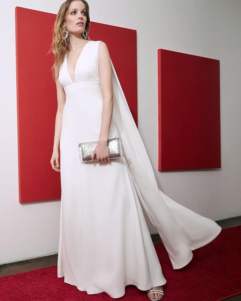 Jill Jill Stuart Sleeveless V-Neck Cape Gown