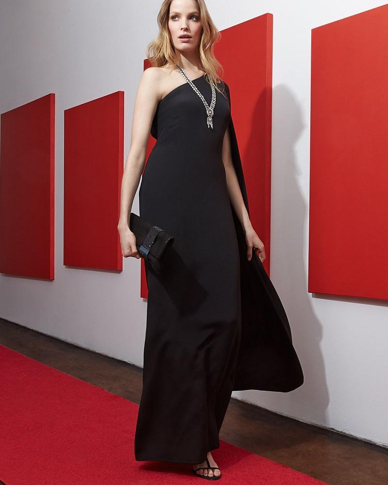 Jill Stuart One-Shoulder Crepe Gown