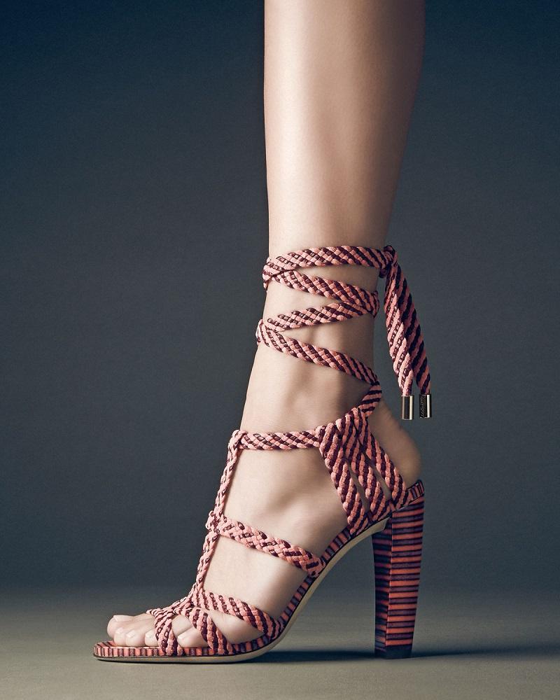 Jimmy Choo Trix 100mm Woven Ankle-Wrap Sandal