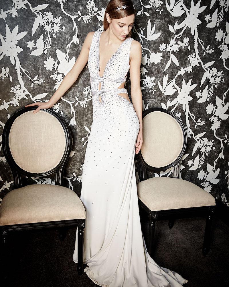 Jovani Sleeveless Open-Back Embellished Gown