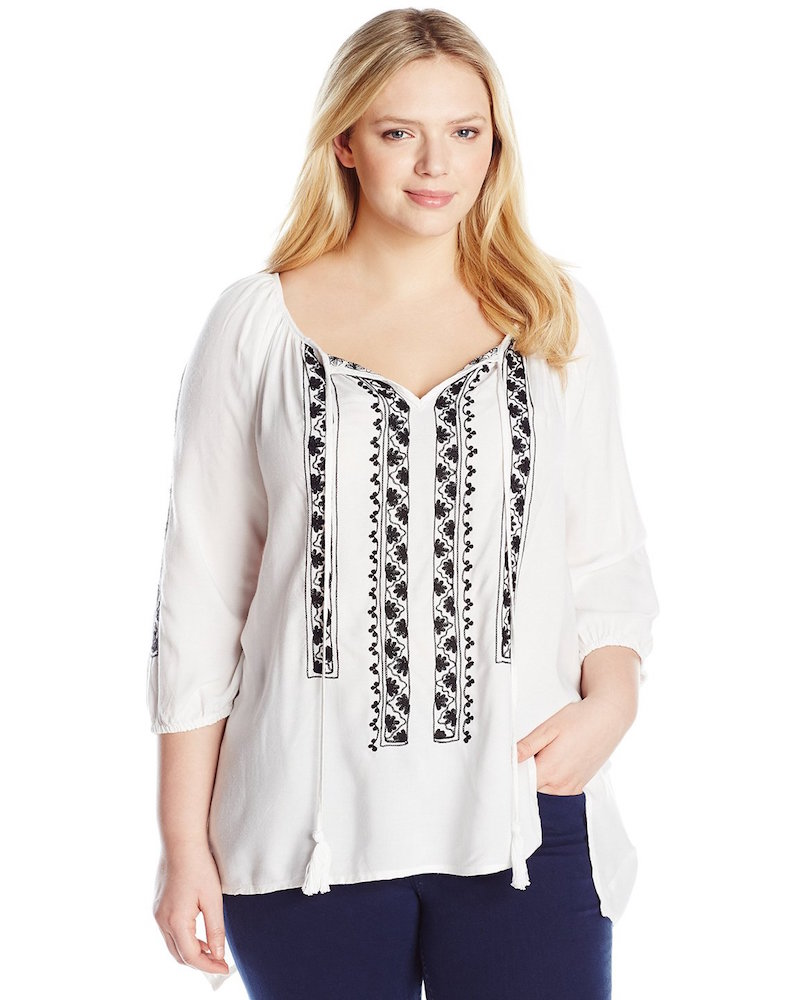 Karen Kane Plus-Size Embroidered Top with Ties
