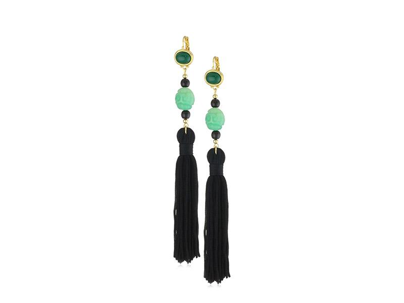 Kenneth Jay Lane Jade-Color Bead and Black Tassel Earrings