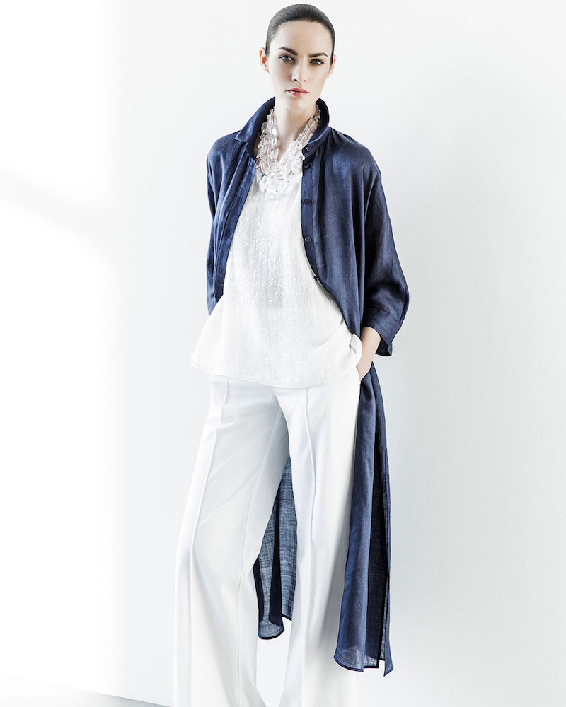 Lafayette 148 New York Gemma Cloth 3/4-Sleeve Long Duster