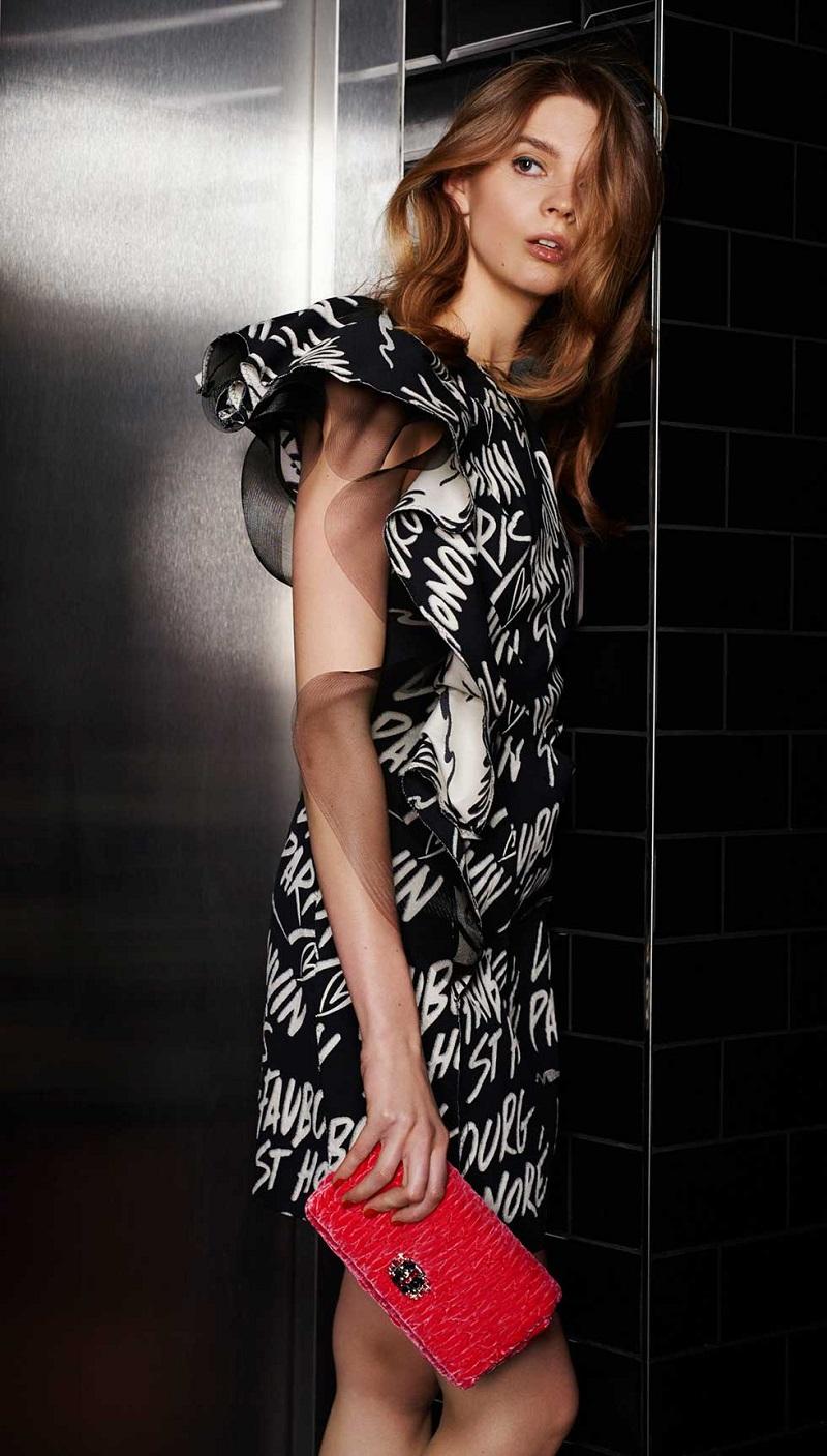Lanvin Ruffled cotton-blend mini dress