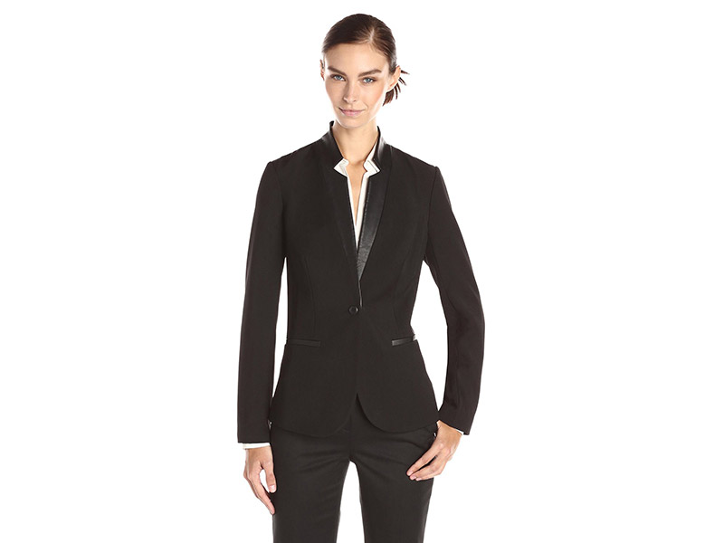 Lark & Ro Single Button Faux Leather Trim Blazer