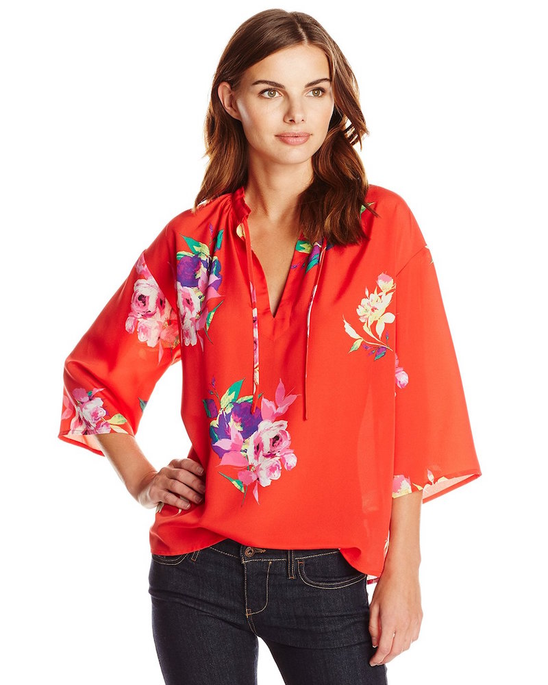 Lark & Ro Tropical-Print Blouse
