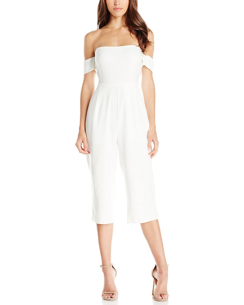 Lucca Couture Ballerina Off Shoulder Cropped Jumpsuit