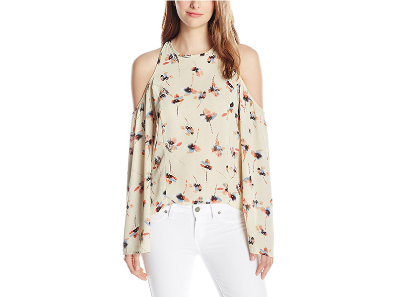 Lucca Couture Cold-Shoulder Printed Bell-Sleeve Top