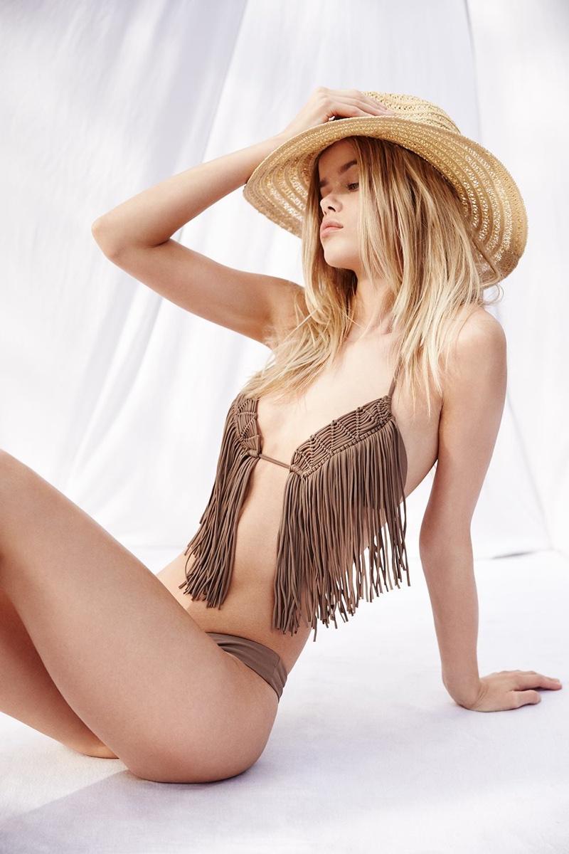 Luli Fama Heart Of A Hippie Weave Fringed Triangle Bikini Top