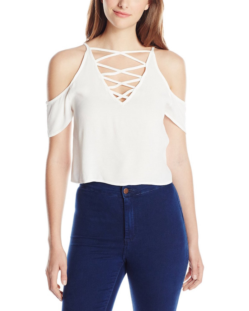 MINKPINK Keep Cool Crisscross-Neck Cold-Shoulder Crop Top