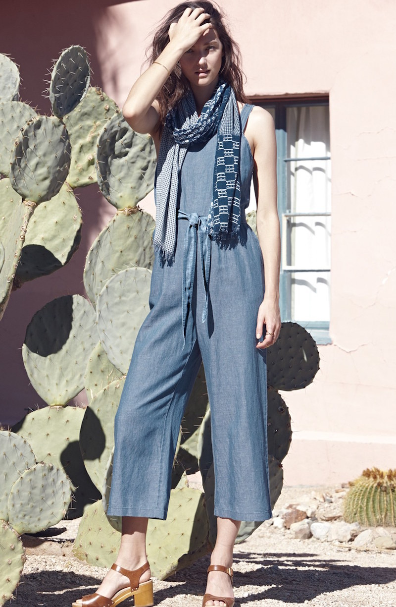 Madewell Muralist Crop Chambray Jumpsuit