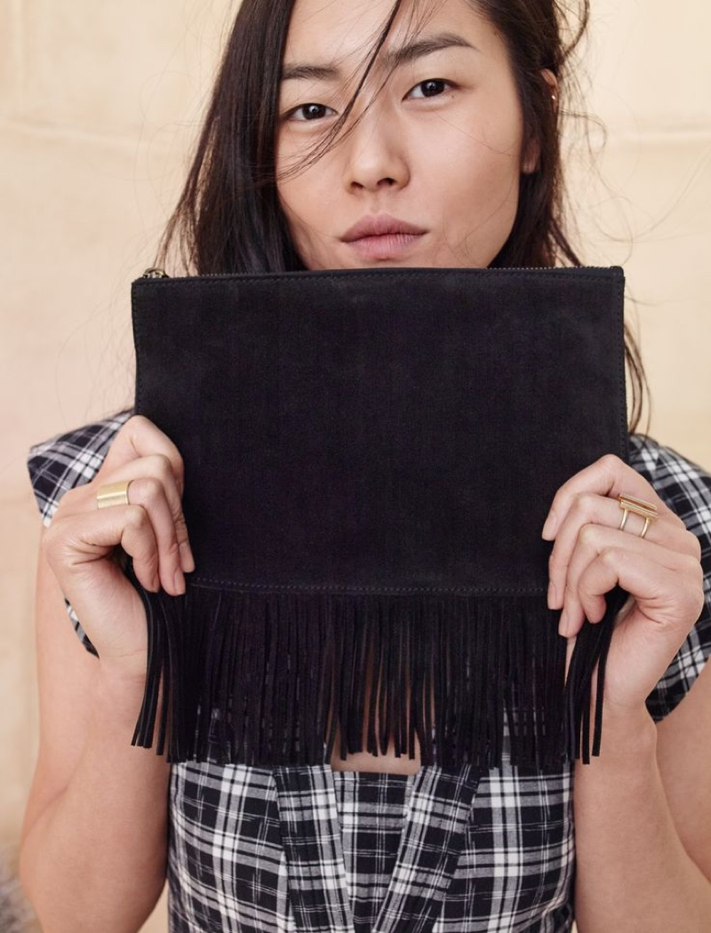 Madewell The Suede Fringed Pouch Clutch