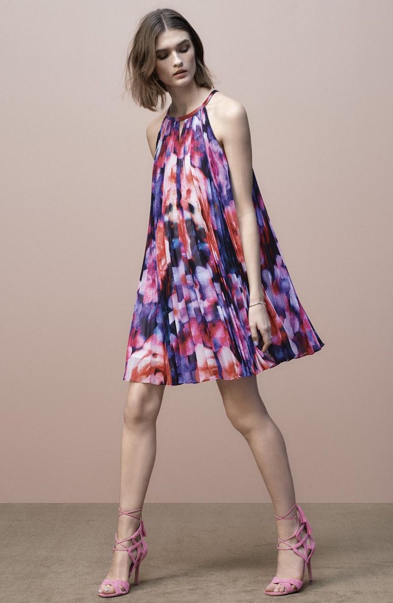 Maggy London Pleat Chiffon Trapeze Dress