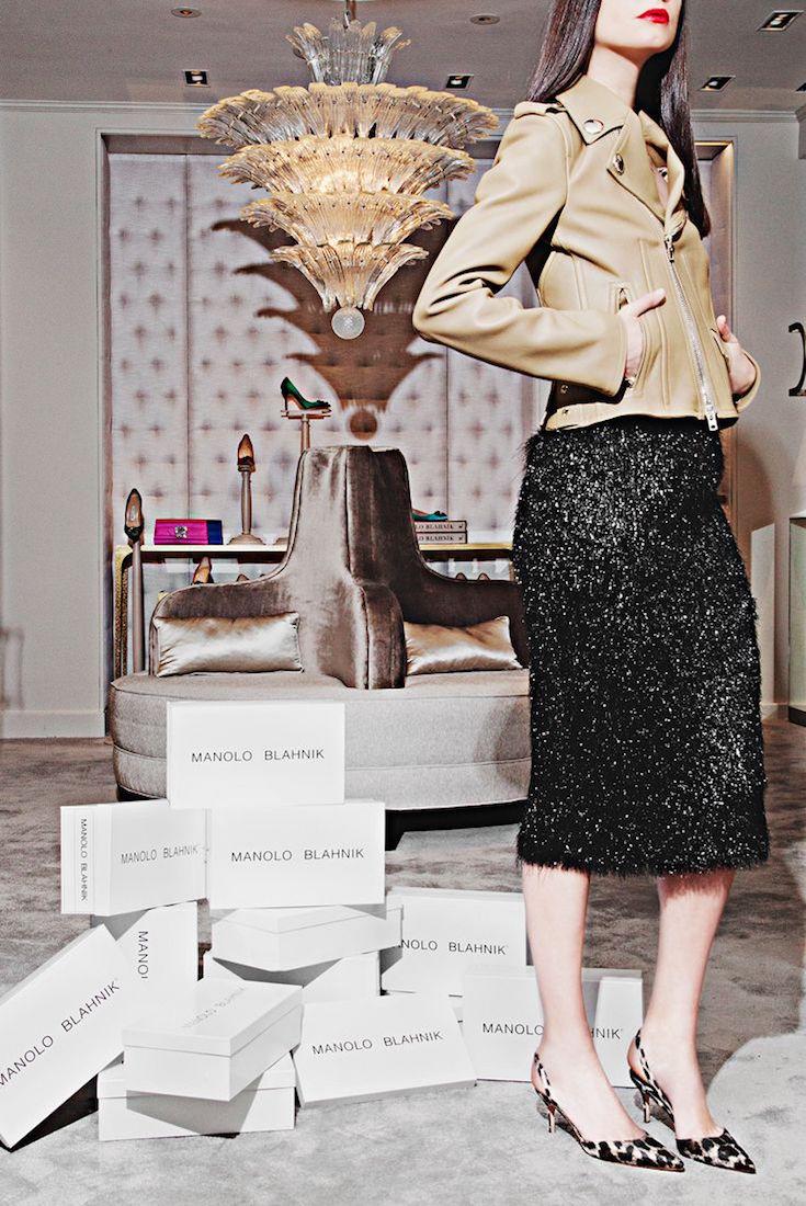 Manolo Blahnik Carolyne Leopard-Print Denim Slingback Pumps
