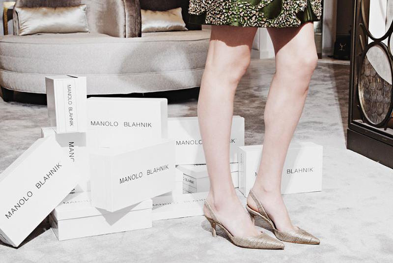 Manolo Blahnik Carolyne Metallic Textile Slingback Pumps