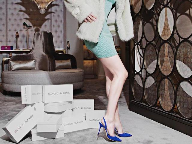 Manolo Blahnik Carolyne Suede Slingback Pumps in Blue