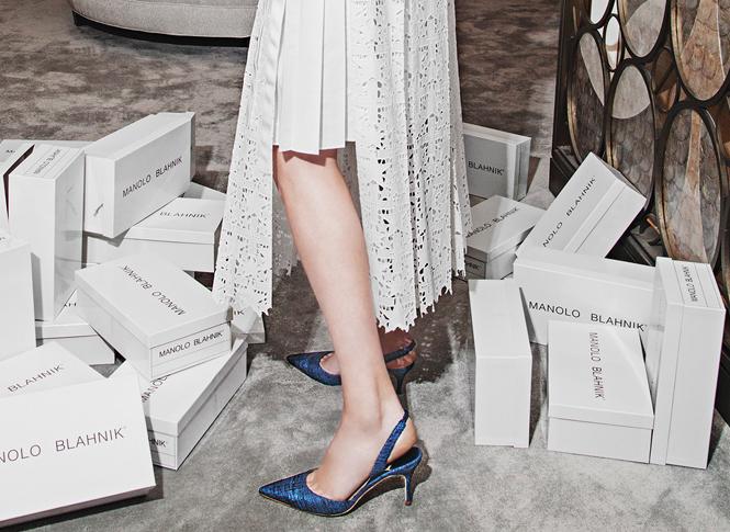 Manolo Blahnik Carolyne Woven Textile Slingback Pumps