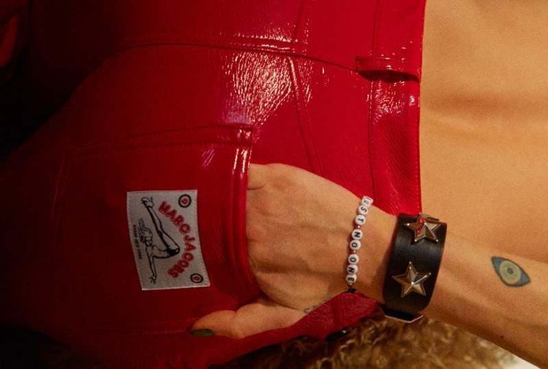 Marc Jacobs Red Coated Stovepipe Trousers
