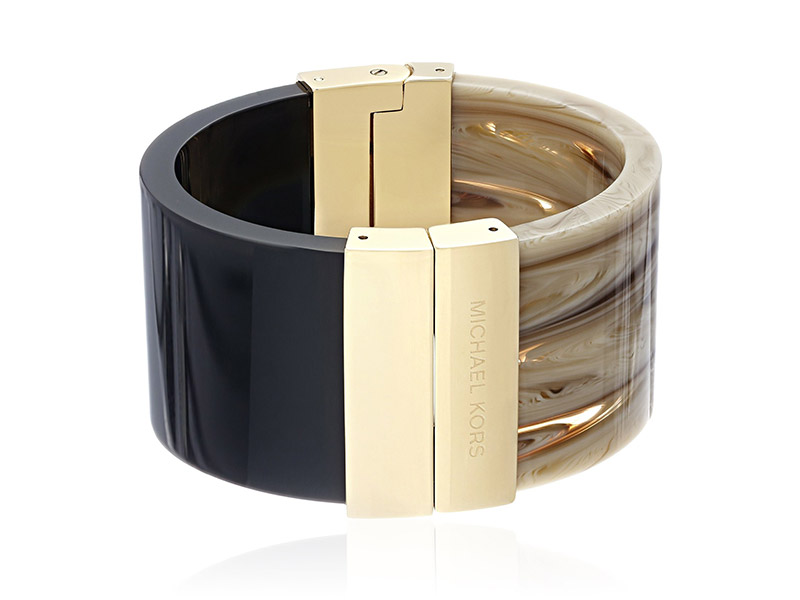 Michael Kors Color Block Acetate and Lucite Gold-Tone Hinged Cuff Bangle Bracelet