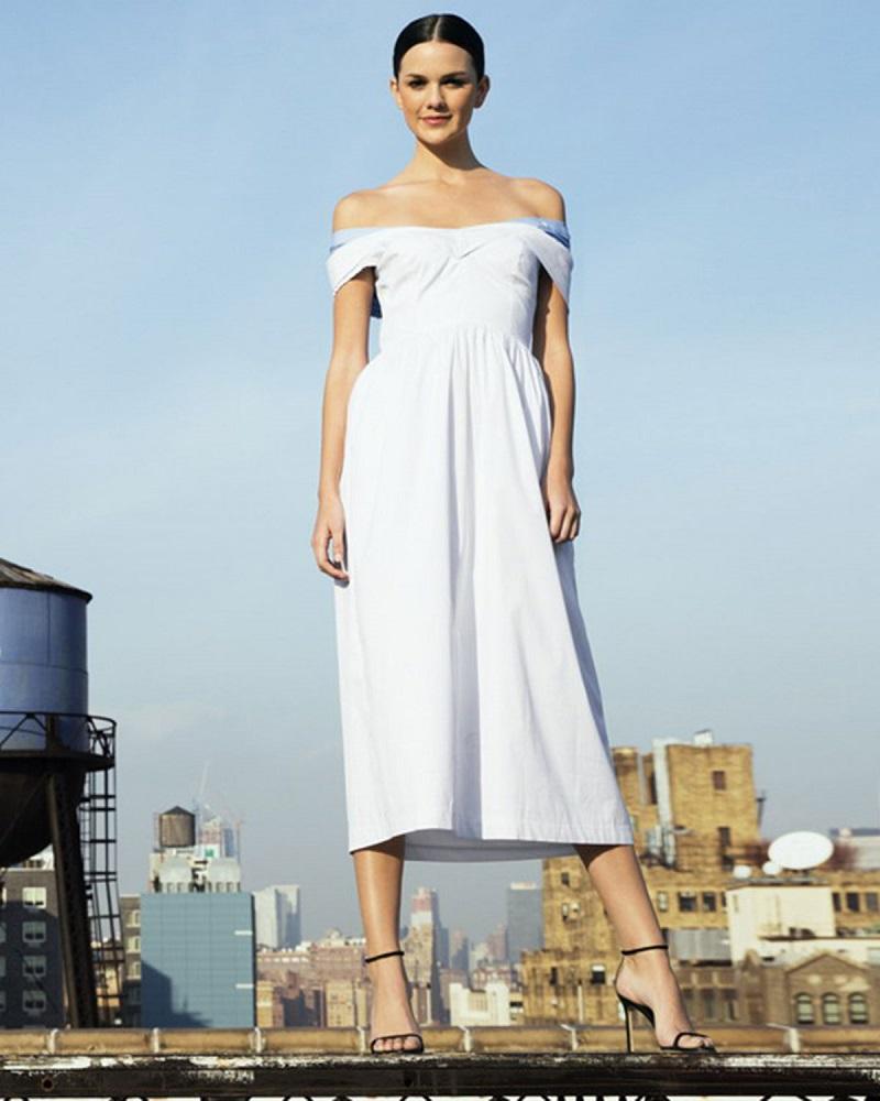 Milly Louise Short-Sleeve Poplin Midi Dress