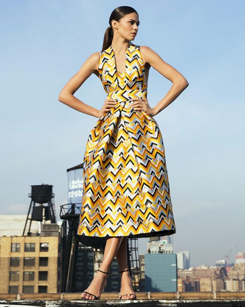 Milly Sleeveless Square-Neck Chevron Mid Dress