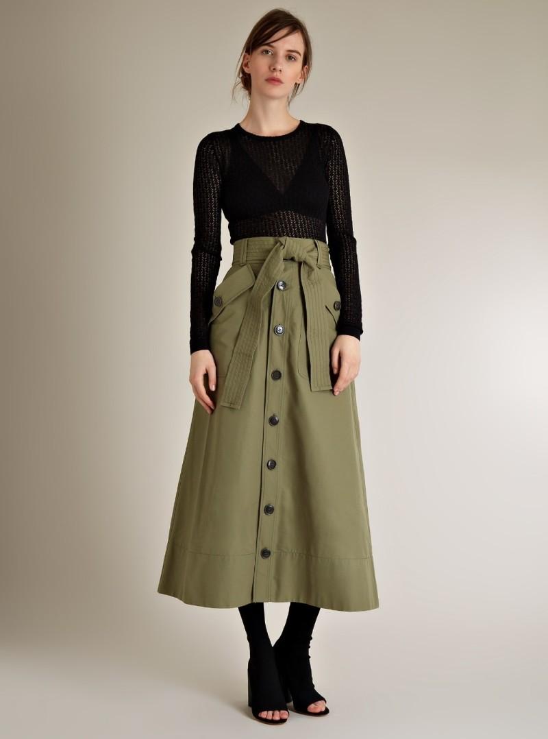 Muveil Tie-front cotton midi skirt