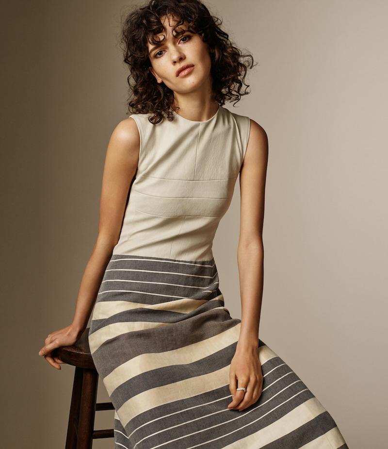 Narciso Rodriguez Striped Midi-Dress