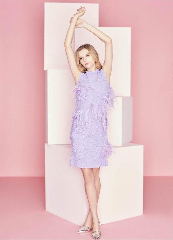 Nina Ricci Purple Silk Shift Dress with Feather Embellishment